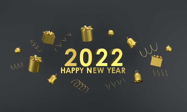 3d. золотой цвет с новым годом 2022 и рождеством. подарочная коробка, колокольчик на красном фоне
