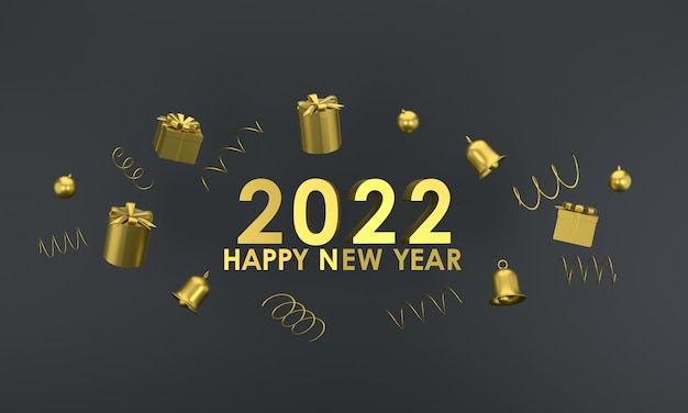 3d. gold color happy new year 2022 and christmas. gift box, bell on red background