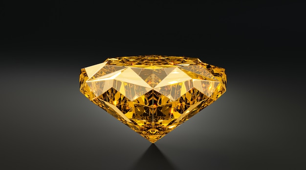 3d gold diamond on black background