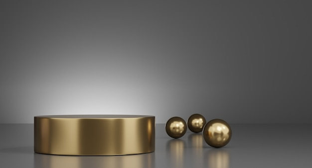 3d gold minimal podiums, pedestals, steps on the background and gold ball decoration. mock up. 3d rendering.