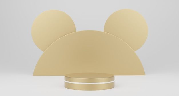 3d gold minimal podiums, pedestals, steps on white background and a round gold decoration. mock up. 3d rendering.