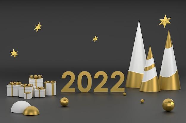 Новогодняя елка 3d golden 2022 и подиум для демонстрации продукции на рождественском фестивале