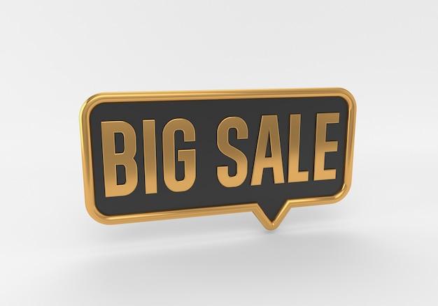흰색 배경에 3d 황금 큰 판매 연설 거품 레이블 태그