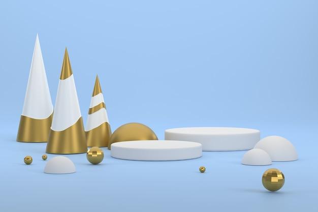 3d. золотая елка и подиум для демонстрации продукции на рождественском фестивале.