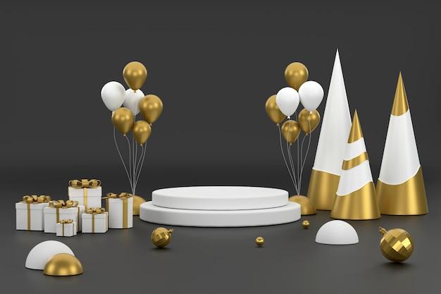 3d золотой елочный шар и подиум для демонстрации продукции на рождественском фестивале
