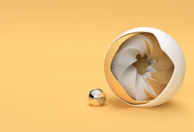 3d золотой сердечник мяч спрятан внутри черной оболочки полушария минимализм геометрия фона. 3d визуализация иллюстрации.