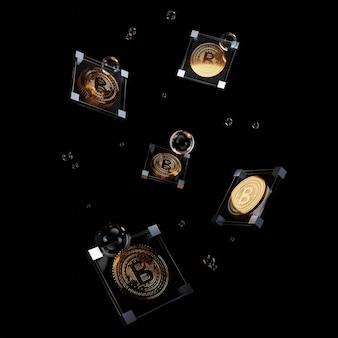 사각형 유리와 검은 배경에 거품 안에 3d 황금 암호 화폐.