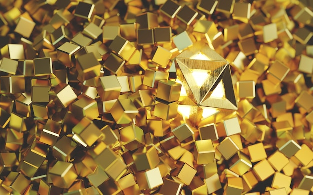 3d of golden cubes and an icosahedron