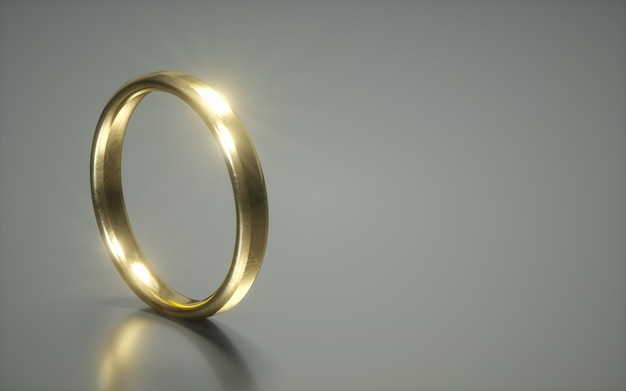 3d golden wedding ring. alliances. relationship rings on a white background