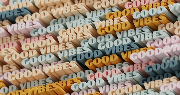 3d 굿 바이브. 추상 인쇄 상의 3d 글자 배경입니다. 주황색, 금색, 흙색 및 파란색 회색 색상 팔레트의 현대적이고 밝은 트렌디한 단어 패턴입니다. 현대 표지, 프레젠테이션 배경