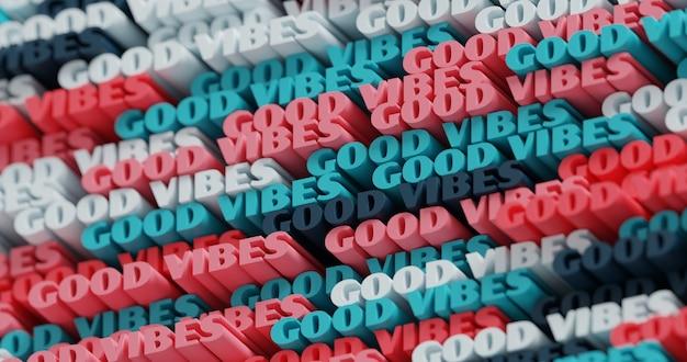 3d 굿 바이브. 추상 인쇄 상의 3d 글자 배경입니다. 분홍색, 파란색, 흑연 및 흰색의 현대적이고 밝은 트렌디한 단어 패턴입니다. 현대 표지, 프레젠테이션 배경