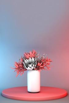연단에 서있는 흰색 꽃병에 파스텔 레드 봄 부케와 3d 그라데이션 배경. 세련된 유행 추상 파스텔 장면. 인사말 또는 초대 카드.