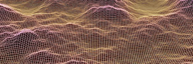 3d gradient topographic mountain grid wireframe.