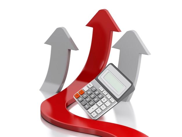 3d-графика стрелка и калькулятор. успех в бизнесе.