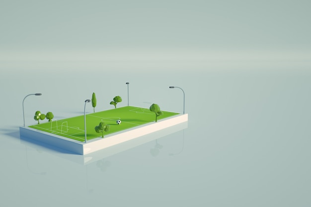 3d graphic model of a football field on a white isolated background. isometric model of a green football field, a stadium for football. top view