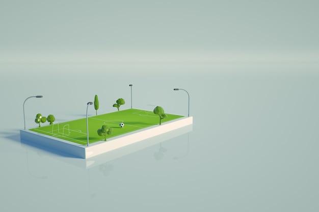 白い孤立した背景上のサッカー場の3dグラフィックモデル。緑のサッカー場、サッカースタジアムのアイソメトリックモデル。上面図