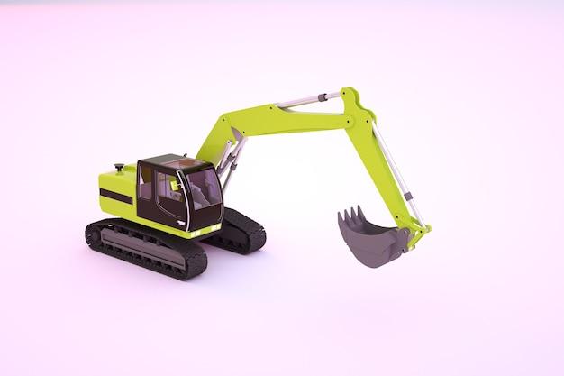 バケツ付きの黄色の建設機械の3dグラフィックモデル。白い孤立した背景に黄色の掘削機。 3dグラフィックス、クローズアップ