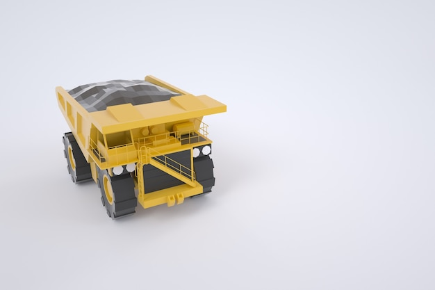 3d графика, модель желтого заряжающего камаза. строительное оборудование. желтый грузовик. изолированные грузовик на белом фоне. передний план.