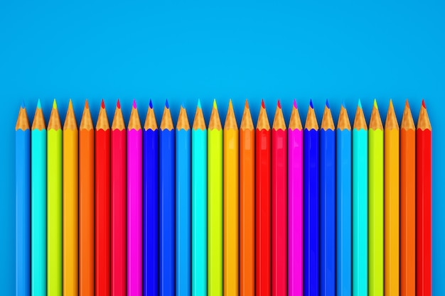 3d графика цветные карандаши. изображение с набором цветных карандашей. крупный план. набор цветных карандашей на синем фоне