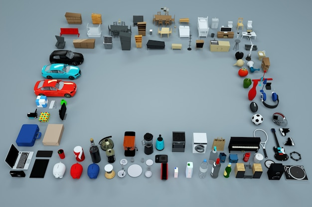 3d graphics, lots of 3d models of home appliances and furniture. collection of items. computer graphics. top view. isolated objects on a gray background