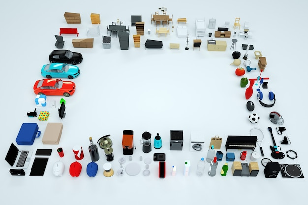 3d graphics, lots of 3d models of home appliances and furniture. collection of items from a computer, phone, kettle, toaster, game console, and so on. top view. isolated objects on a white background