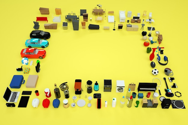 3dグラフィックス、家電製品や家具の3dモデルがたくさん。コンピューター、電話、やかん、トースター、ゲーム機などからのアイテムのコレクション。上面図。黄色の背景に孤立したオブジェクト