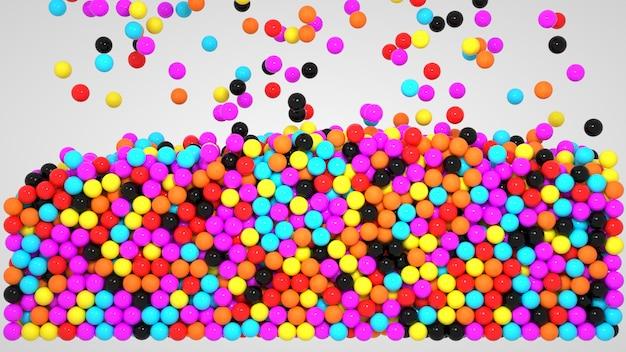 3d графика, множество маленьких разноцветных шариков. шарики, пузыри, сферы. крупный план