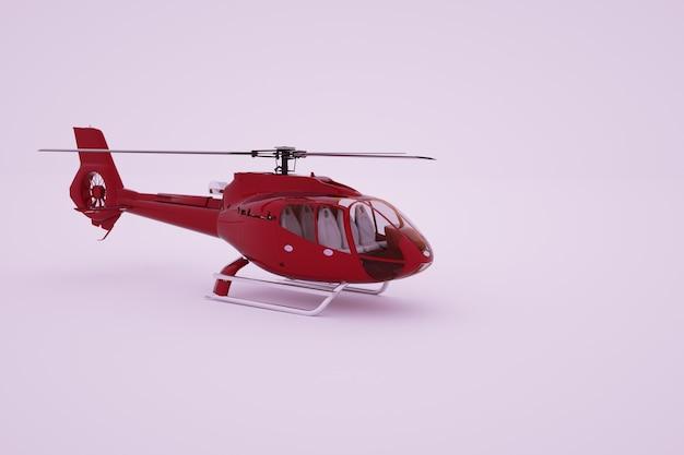 3d 그래픽, 빨간색 헬리콥터 모델. 흰색 바탕에 빨간색 헬리콥터입니다. 컴퓨터 그래픽. 측면보기