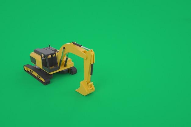 黄色の掘削機の3dグラフィックモデル。バケット付き掘削機。緑の背景に孤立した掘削機。