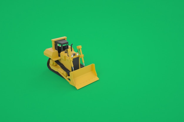 3dグラフィックス、バケツ付きの黄色いトラクターのモデル。建設のための特別な機器。グラフィックの機器。緑の背景に孤立したトラクター。