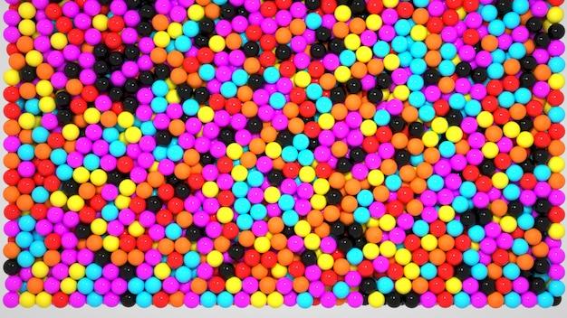 3д графика. случайные пластиковые разноцветные шарики. много маленьких цветных шариков. шары, сферы, пузыри. крупный план