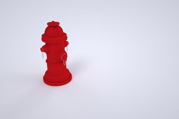 3dグラフィックス、赤い消火栓、消火器。白い背景の上の赤いハイドラントのモデル。