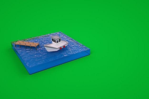3d graphics, a small model of a boat on the water, a pier. boat on the water at the pier. isolated marina with a boat on a green background.