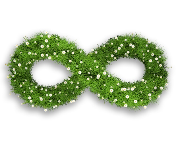3d grass and daisies in an infinity symbol shape