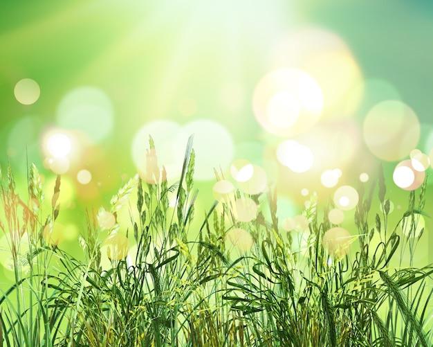 Il rendering 3d di grano verde su un soleggiato luci bokeh