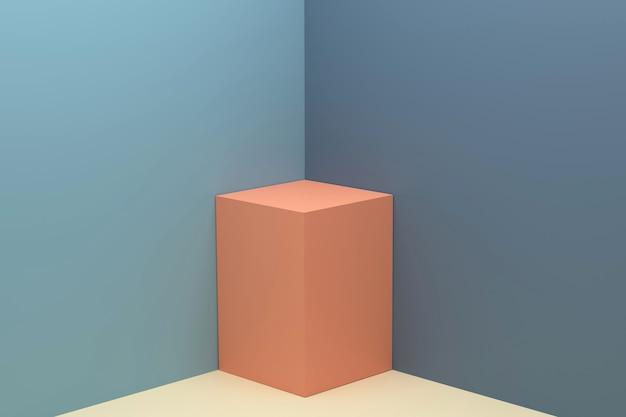 3d gray and pedestals orange abstract wall corner scene 3d empty pedestals for presentation