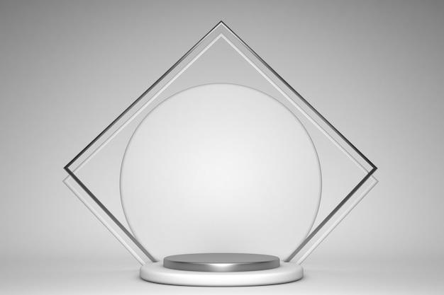 表彰台と最小限の製品シーンを備えた3dグレーレンダリング、背景のモダンな製品の抽象的な幾何学的形状ステージ3d