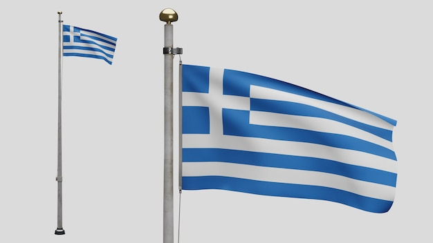 3d、風に手を振るギリシャの旗。ギリシャのバナーを吹く、柔らかく滑らかなシルクのクローズアップ。布生地のテクスチャは、背景をエンサインします。建国記念日や国の行事のコンセプトに使用してください。