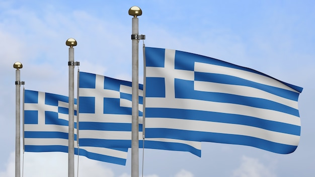3d, greek flag waving on wind with blue sky and clouds. close up of greece banner blowing, soft and smooth silk. cloth fabric texture ensign background.