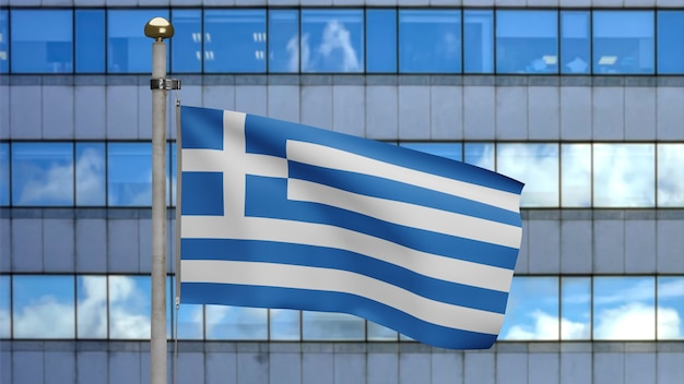 3d, greek flag waving on wind with modern skyscraper city. close up of greece banner blowing, soft and smooth silk. cloth fabric texture ensign background.