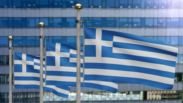 3d, greek flag waving on wind with modern skyscraper city. greece banner blowing, soft and smooth silk. cloth fabric texture ensign background. use it for national day and country occasions concept.