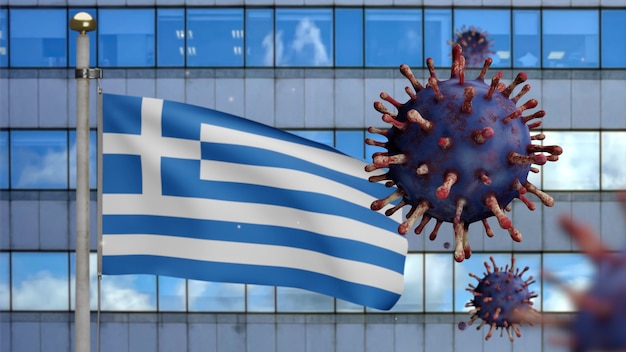 3d, greek flag waving with with modern skyscraper city and coronavirus outbreak as dangerous flu. influenza type covid 19 virus with national greece banner blowing. pandemic risk concept