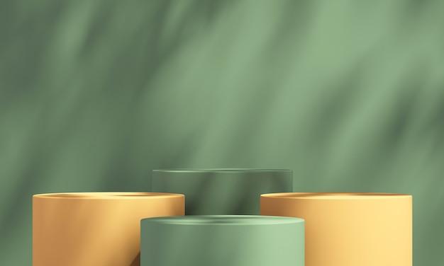 녹색 배경과 나무 그림자, 여름 제품 모형 배경, 3d 렌더링 그림이 있는 3d 녹색 및 주황색 제품 연단 디스플레이