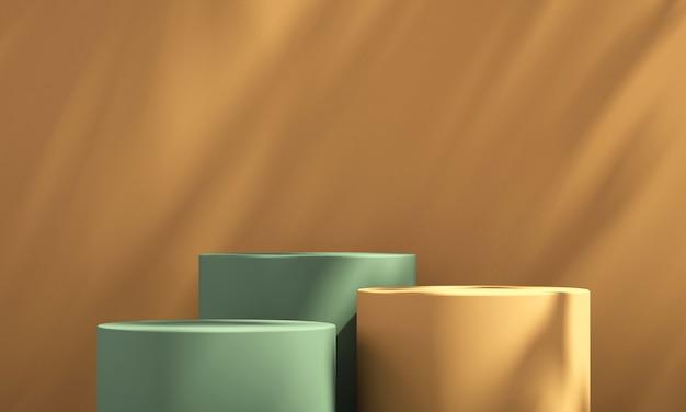 주황색 배경 및 나무 그림자, 여름 제품 모형 배경, 3d 렌더링 그림이 있는 3d 녹색 및 주황색 제품 연단 디스플레이
