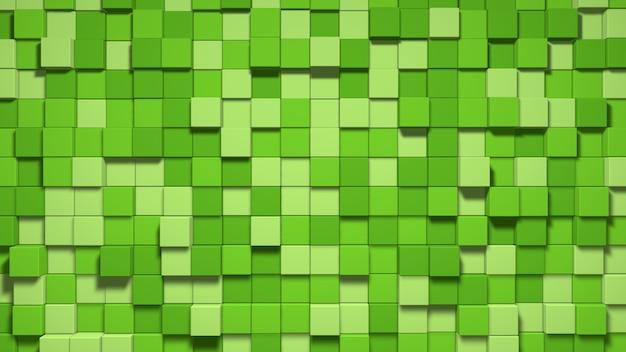 3 d の緑のキューブの背景