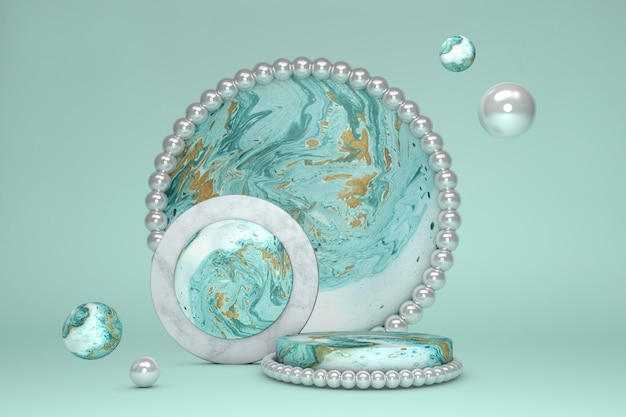 3d green marble round circle podium against pastel background. pedestal with peal. concept scene stage showcase for new product,  presentation, cosmetic.
