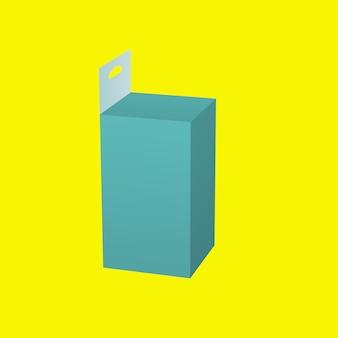 3d 녹색 의학 교수형 상자 노란색 배경에 고립. 디자인 요소에 적합합니다.
