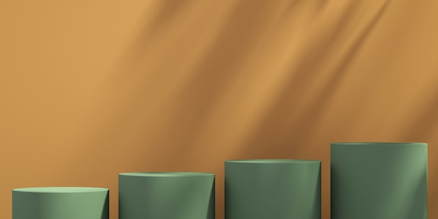 3d green and orange product podium display with orange background and tree shadow,summer product mockup background,3d render illustration