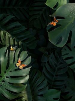 Assortimento di foglie di palma verde 3d