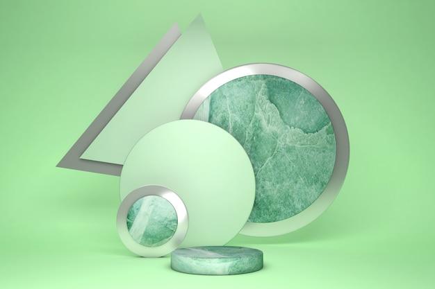 Подиум постамента зеленый 3d установлен против пастельной предпосылки. геометрическая форма, мраморная витрина для косметической продукции.